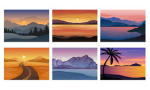 Sunset Landscapes And Scenes W...