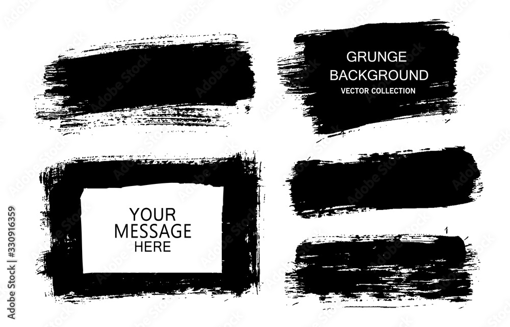 Fototapeta Painted grunge stripes set. Black labels, background, paint texture. Brush strokes vector. Handmade design elements.