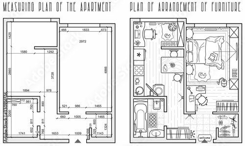 Photo Architectural measuring plan of apartment and floor plan of arrangement of furniture (view from above)