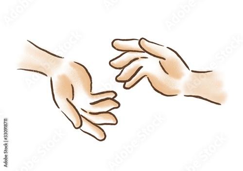 Fototapeta タッチする 手 手を交わす