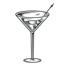 Cocktail Martini Glass With Ol...