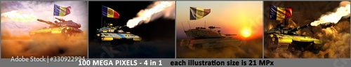 Photo Andorra army concept - 4 highly detailed pictures of modern tank with design tha