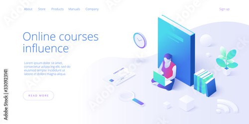 Obraz Online education concept vector illustration in isometric design. Girl or woman using internet distance training and courses on learning or educational platform. Website layout template. - fototapety do salonu