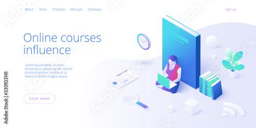 Online education concept vector illustration in isometric design Fototapet