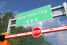 Boom Gate Near New York City, United States Road Sign. Coronavirus Or Some Other Disease Quarantine Related 3D Rendering