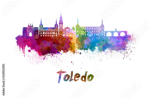 Fototapeta Toledo skyline in watercolor