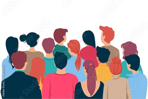 Obraz Back view colored head of cartoon people crowd theater watching isolated on white background. Viewers characters man and woman looking at show entertainment presentation vector graphic illustration - fototapety do salonu
