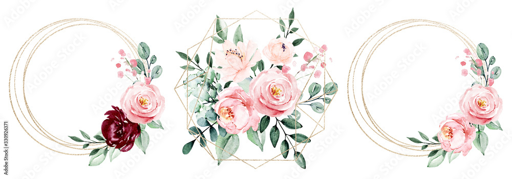Fototapeta Gold frames set, wreath border and blossom arrangement. Watercolor clip art hand painting, floral geometric background. Flowers compositions isolated on white background.