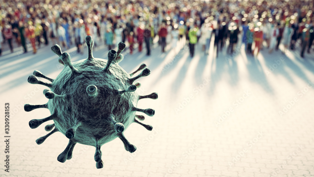 Fototapeta People defend from virus, coronavirus. Cells attacking causing pandemic