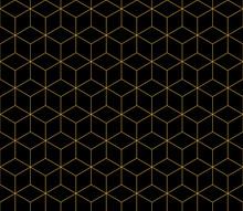 Isometric Cube Gold Line Seaml...
