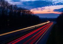 Autobahn Deutschland Abenddäm...