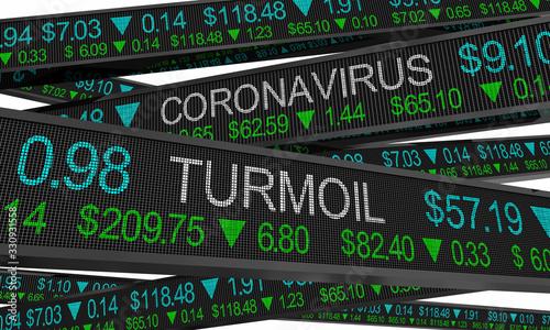 Fototapeta Coronavirus Stock Market Crash Turmoil COVID-19 Outbreak Pandemic 3d Illustration obraz