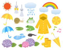 梅雨イラストセット