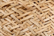 Closeup Texture Of Wicker Basket In Beige Color. Natural Materials In The Industry. No Waste. Recycling. Background And Texture.