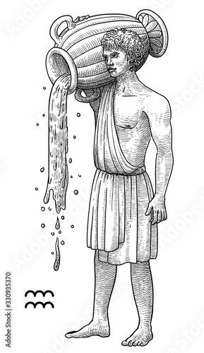 Aquarius zodiac symbol illustration, drawing, engraving, ink, line art, vector Canvas Print