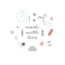 Hand Made Sewing Icons And Vector Illustrations. Cute Tailor's Collection With Threads, Needles, Stitches, Buttons