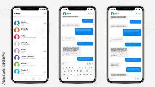 Realistic Mockup app messenger on the screen smartphone in white color concept. Social / UI / UX design. Vector illustration.