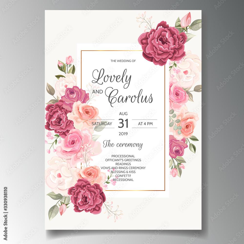 Fototapeta Beautiful wedding invitation card template set with floral frame