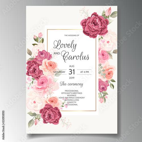 Obraz Beautiful wedding invitation card template set with floral frame - fototapety do salonu