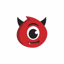 Cute Red Devil Character Logo. Red Demons Vector.