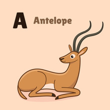 Cartoon Antelope, Cute Charact...