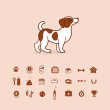 Jack Russell Terrier. Cute Dog Character With Icon Set. Vector Illustration In Cartoon Style For Poster, Postcard.