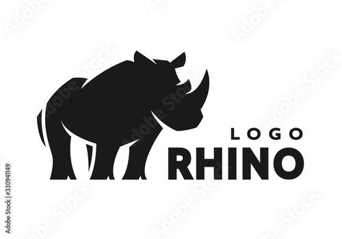 African rhino silhouette. Logo, symbol. Vector illustration. Canvas-taulu