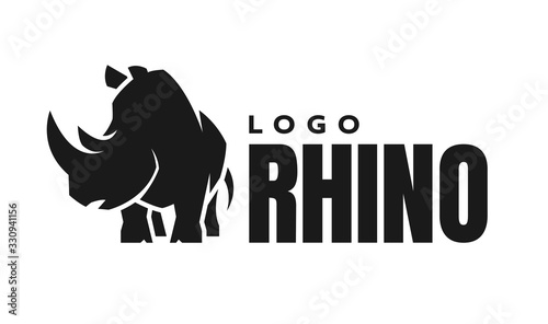Fényképezés African rhino silhouette. Logo, symbol. Vector illustration.