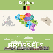 Belgium Administrative Divisions Map Colored By Provinces. Brussels Cityscape Colorful Poster. Vector Illustration
