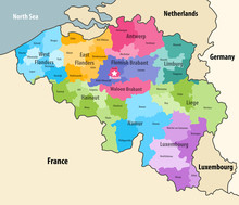 Belgium Administrative Districts Map With Neighbouring Terrotories. Vector