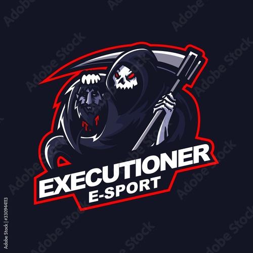 Valokuva grim reaper e-sport gaming mascot logo template