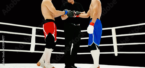 Fotografie, Obraz MMA fighters and referee shake hands in ring before start of fight on black back