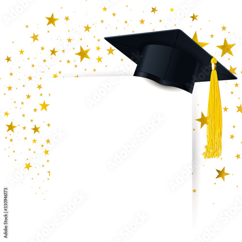 Obraz na plátně Graduate Cap with  Diploma on a Background of a Gold Stars