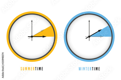 Leinwand Poster summer and winter time clock daylight saving vector illustration EPS10