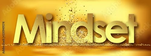 Mindset in golden stars background Wallpaper Mural
