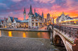 canvas print picture - Ghent, Belgium at the Graslei