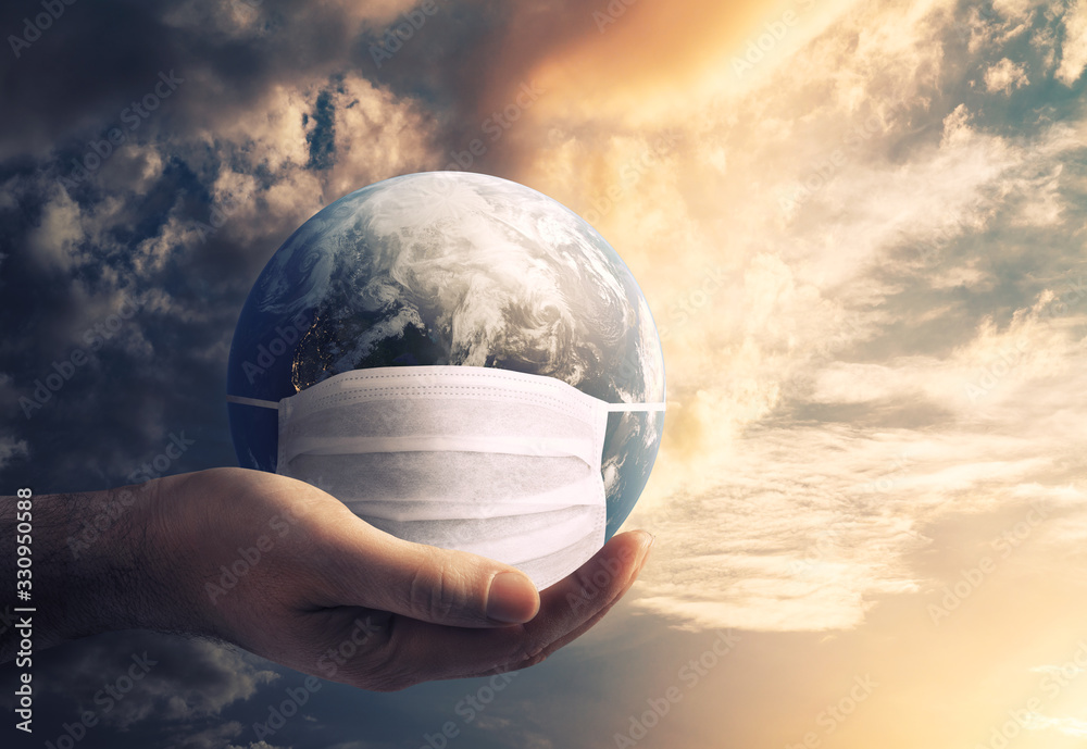 Fototapeta Earth is wearing protection mask against Corona Virus. Global danger concept. Elements of this Image Furnished by NASA. 3d rendering.