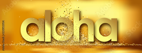 Aloha in golden stars and yellow background Wallpaper Mural