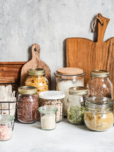 Waste-free Domestic Life. Kitchen Storage Of Reusable Products For The Environment And Zero Waste Life. Plastic Free Life. Zero Waste Concept. Copy Space