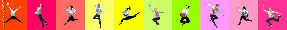 Fototapeta Collage of 2 young emotional jumping people on multicolored bright background. Concept of human emotions, facial expression, sales. Header, banner or proposal. Office style, ballet, dance concept.