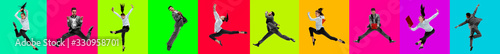 Fototapeta Collage of 2 young emotional jumping people on multicolored bright background