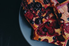 Berry Pie On Black Plate, Rustic Homemade Food With Organic Ingredients