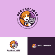 Dog And Cat Logo For Petshop Branding Identity