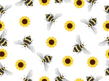 Seamless Pattern With Flying Bees. Vector Cartoon Black And Yellow Bees Isolated On White Background. Cartoon Doodle Cute Bees Seamless Line Pattern