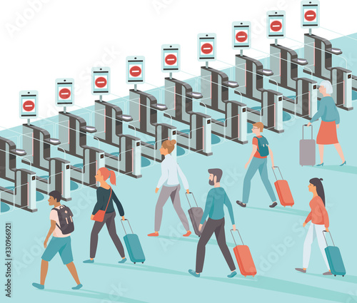 Fototapeta Lockdown the country borders during coronavirus quarantine.  Crowd of upset passengers with closed e-gates in the airport. flat vector illustration obraz