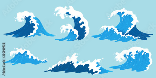 Vector sea waves collection. Illustration of blue ocean waves with white foam. Isolated water splash set in cartoon style. Element for your design.