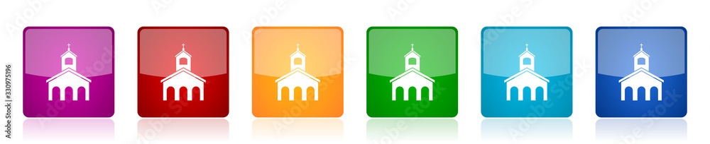 Fototapeta Religion, church icon set, colorful square glossy vector illustrations in 6 options for web design and mobile applications