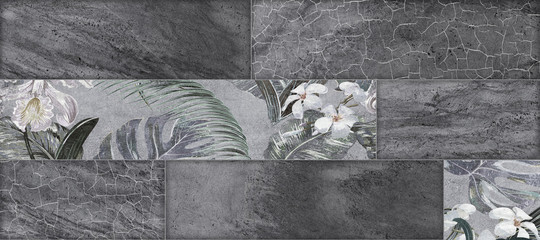 Fototapeta Struktura ściany black brick wall and flowers decorative background
