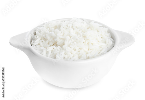 Bowl with cooked rice isolated on white Wallpaper Mural