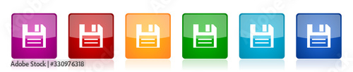 Fotografía Disk icon set, colorful square glossy vector illustrations in 6 options for web